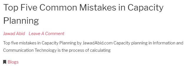 Blog - Top Five Common Mistakes in Capacity Planning from jawadabid.com
